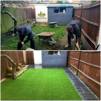 Before & after picture of Home View Landscapes landscaping gardening services